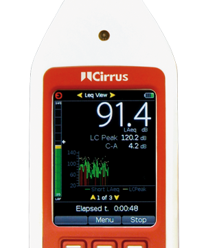 optimus green sound level meter screen shows noise measurement